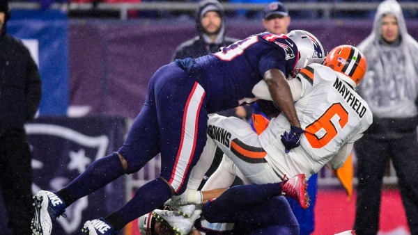 FOXBOROUGH, MA - OCTOBER 27: Baker Mayfield #6 of the Cleveland Browns is sacked during a game against the New England Patriots at Gillette Stadium on October 27, 2019 in Foxborough, Massachusetts. (Photo by Billie Weiss/Getty Images)