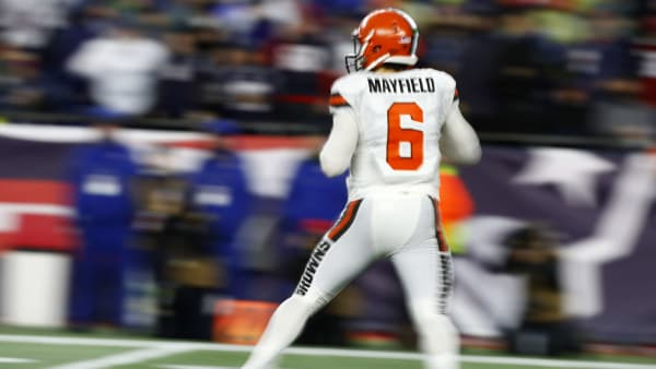 FOXBOROUGH, MASSACHUSETTS - OCTOBER 27: Baker Mayfield #6 of the Cleveland Browns drops back during the fourth quarter of the game against the New England Patriots at Gillette Stadium on October 27, 2019 in Foxborough, Massachusetts. (Photo by Omar Rawlings/Getty Images)