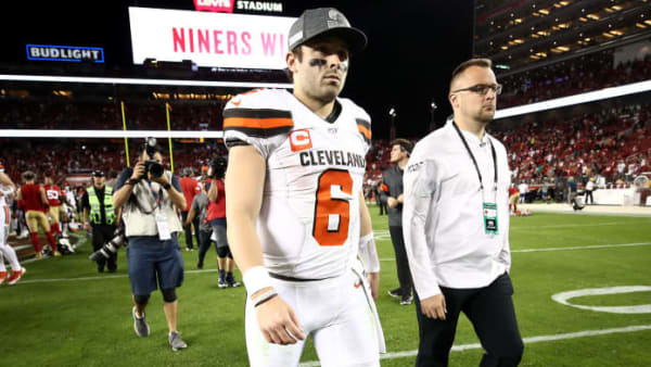 SANTA CLARA, CALIFORNIA - OCTOBER 07: Baker Mayfield #6 of the Cleveland Browns walks off the field after they lost to the San Francisco 49ers at Levi's Stadium on October 07, 2019 in Santa Clara, California. (Photo by Ezra Shaw/Getty Images)