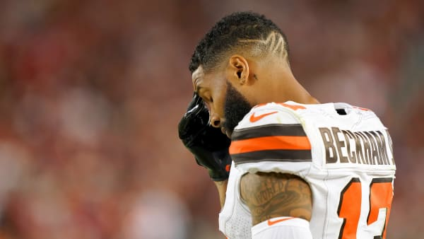 SANTA CLARA, CALIFORNIA - OCTOBER 07: Odell Beckham Jr. #13 of the Cleveland Browns stands on the sidelines rubbing his forehead against the San Francisco 49ers during the third quarter of an NFL football game at Levi's Stadium on October 07, 2019 in Santa Clara, California. The 49ers won the game 31-3. (Photo by Thearon W. Henderson/Getty Images)