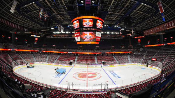 CALGARY, AB - APRIL 19: An interior view of the Scotiabank Saddledome prior to Game Five of the Western Conference First Round between the Calgary Flames and the Colorado Avalanche during the 2019 NHL Stanley Cup Playoffs on April 19, 2019 in Calgary, Alberta, Canada. (Photo by Derek Leung/Getty Images)