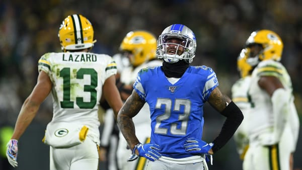 GREEN BAY, WISCONSIN - OCTOBER 14:  Darius Slay #23 of the Detroit Lions reacts to an officials call during a game against the Green Bay Packers at Lambeau Field on October 14, 2019 in Green Bay, Wisconsin. (Photo by Stacy Revere/Getty Images)