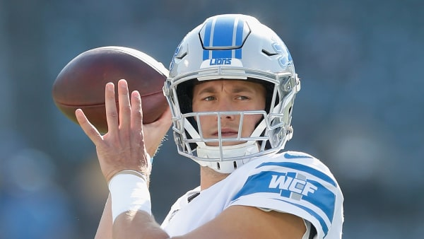 OAKLAND, CALIFORNIA - NOVEMBER 03: Matthew Stafford #9 of the Detroit Lions warms up before the game against the Oakland Raiders at RingCentral Coliseum on November 03, 2019 in Oakland, California. (Photo by Lachlan Cunningham/Getty Images)