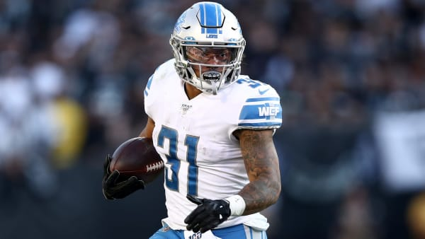 OAKLAND, CALIFORNIA - NOVEMBER 03:  Ty Johnson #31 of the Detroit Lions in action against the Oakland Raiders at RingCentral Coliseum on November 03, 2019 in Oakland, California. (Photo by Ezra Shaw/Getty Images)