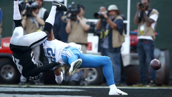 OAKLAND, CALIFORNIA - NOVEMBER 03:   Karl Joseph #42 of the Oakland Raiders stops Logan Thomas #82 of the Detroit Lions from catching a pass in the end zone on fourth down at the end of their game at RingCentral Coliseum on November 03, 2019 in Oakland, California.  This play clinched the victory for the Raiders. (Photo by Ezra Shaw/Getty Images)
