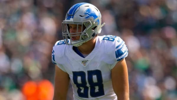 PHILADELPHIA, PA - SEPTEMBER 22: T.J. Hockenson #88 of the Detroit Lions in action against the Philadelphia Eagles at Lincoln Financial Field on September 22, 2019 in Philadelphia, Pennsylvania. (Photo by Mitchell Leff/Getty Images)