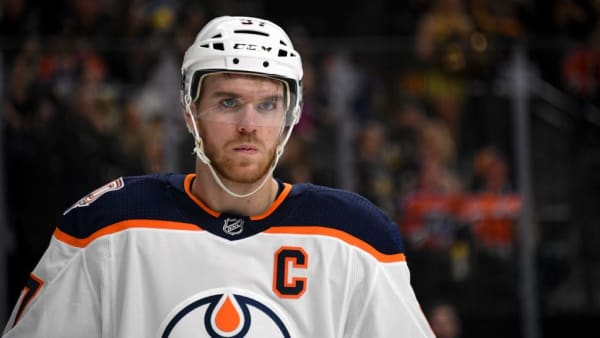 LAS VEGAS, NEVADA - APRIL 01:  Connor McDavid #97 of the Edmonton Oilers takes a break during a stop in play in the second period of a game against the Vegas Golden Knights at T-Mobile Arena on April 1, 2019 in Las Vegas, Nevada. The Golden Knights defeated the Oilers 3-1.  (Photo by Ethan Miller/Getty Images)