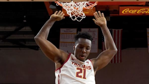 LOS ANGELES, CA - NOVEMBER 05: Onyeka Okongwu #21 of the USC Trojans gets by Evins Desir #34 of the Florida A&M Rattlers for a dunk in the second half of the game at Galen Center on November 5, 2019 in Los Angeles, California. (Photo by Jayne Kamin-Oncea/Getty Images)