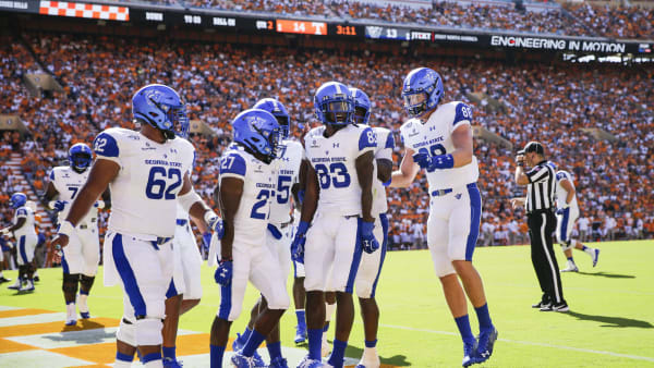 KNOXVILLE, TENNESSEE - AUGUST 31: Cornelius McCoy #83 of the Georgia State Panthers celebrates in the end-zone with his teammates after scoring a touchdown against the Tennessee Volunteers during the second quarter of the season opener at Neyland Stadium on August 31, 2019 in Knoxville, Tennessee. (Photo by Silas Walker/Getty Images)
