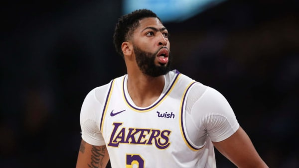 LOS ANGELES, CALIFORNIA - OCTOBER 16:  Anthony Davis #3 of the Los Angeles Lakers looks on during the first half of a game against the Golden State Warriors at Staples Center on October 16, 2019 in Los Angeles, California. (Photo by Sean M. Haffey/Getty Images)
