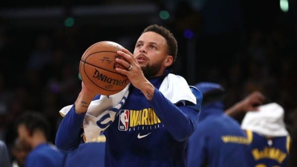 LOS ANGELES, CALIFORNIA - OCTOBER 16:  Stephen Curry #30 of the Golden State Warriors looks on during a timeout during the second half of a game against the Los Angeles Lakers at Staples Center on October 16, 2019 in Los Angeles, California. (Photo by Sean M. Haffey/Getty Images)