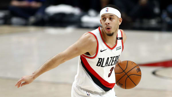 PORTLAND, OREGON - MAY 18: Seth Curry #31 of the Portland Trail Blazers dribbles during the first half against the Golden State Warriors in game three of the NBA Western Conference Finals at Moda Center on May 18, 2019 in Portland, Oregon. NOTE TO USER: User expressly acknowledges and agrees that, by downloading and or using this photograph, User is consenting to the terms and conditions of the Getty Images License Agreement. (Photo by Jonathan Ferrey/Getty Images)