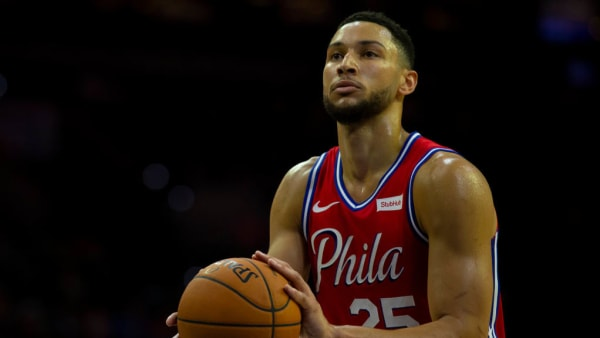 PHILADELPHIA, PA - OCTOBER 08: Ben Simmons #25 of the Philadelphia 76ers attempts a free throw against the Guangzhou Long Lions during the preseason game at the Wells Fargo Center on October 8, 2019 in Philadelphia, Pennsylvania. NOTE TO USER: User expressly acknowledges and agrees that, by downloading and or using this photograph, User is consenting to the terms and conditions of the Getty Images License Agreement. (Photo by Mitchell Leff/Getty Images)