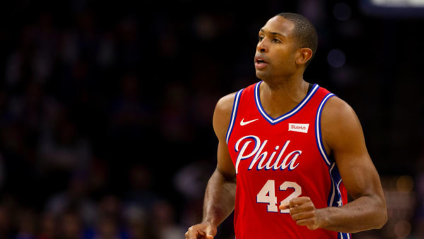 PHILADELPHIA, PA - OCTOBER 08: Al Horford #42 of the Philadelphia 76ers looks on against the Guangzhou Long Lions during the preseason game at the Wells Fargo Center on October 8, 2019 in Philadelphia, Pennsylvania. NOTE TO USER: User expressly acknowledges and agrees that, by downloading and or using this photograph, User is consenting to the terms and conditions of the Getty Images License Agreement. (Photo by Mitchell Leff/Getty Images)