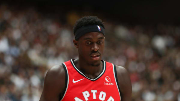 SAITAMA, JAPAN - OCTOBER 08: Pascal Siakam #43 of Toronto Raptors reacts during the preseason game between Houston Rockets and Toronto Raptors at Saitama Super Arena on October 08, 2019 in Saitama, Japan. NOTE TO USER: User expressly acknowledges and agrees that, by downloading and/or using this photograph, user is consenting to the terms and conditions of the Getty Images License Agreement.   (Photo by Takashi Aoyama/Getty Images)