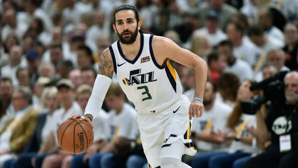 SALT LAKE CITY, UT - APRIL 22: Ricky Rubio #3 of the Utah Jazz brings the ball up court against the Houston Rockets in the first half of Game Four during the first round of the 2019 NBA Western Conference Playoffs at Vivint Smart Home Arena on April 22, 2019 in Salt Lake City, Utah. NOTE TO USER: User expressly acknowledges and agrees that, by downloading and or using this photograph, User is consenting to the terms and conditions of the Getty Images License Agreement. (Photo by Gene Sweeney Jr./Getty Images)