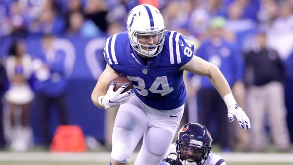 INDIANAPOLIS, IN - DECEMBER 11:  Jack Doyle #84 of the Indianapolis Colts runs with the ball during the game against the Houston Texans at Lucas Oil Stadium on December 11, 2016 in Indianapolis, Indiana.  (Photo by Andy Lyons/Getty Images)