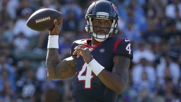 CARSON, CALIFORNIA - SEPTEMBER 22: Deshaun Watson #4 of the Houston Texans drops back to pass in the fourth quarter against the Los Angeles Chargers at Dignity Health Sports Park on September 22, 2019 in Carson, California. The Texans defeated the Chargers 27-20. (Photo by Jeff Gross/Getty Images)
