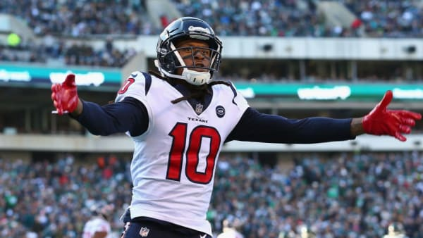 PHILADELPHIA, PA - DECEMBER 23:  Wide receiver DeAndre Hopkins #10 of the Houston Texans celebrates against the Philadelphia Eagles in the second quarter at Lincoln Financial Field on December 23, 2018 in Philadelphia, Pennsylvania.  (Photo by Mitchell Leff/Getty Images)