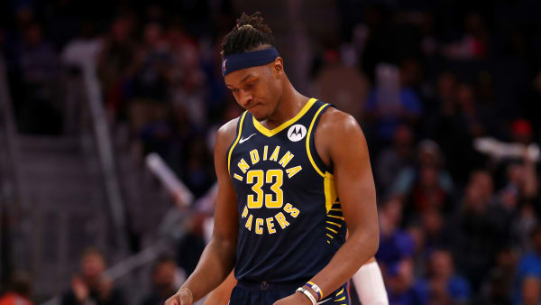 DETROIT, MICHIGAN - OCTOBER 28:  Myles Turner #33 of the Indiana Pacers reacts after a loss to the Detroit Pistons at Little Caesars Arena on October 28, 2019 in Detroit, Michigan. Detroit won the game 96-94. NOTE TO USER: User expressly acknowledges and agrees that, by downloading and/or using this photograph, user is consenting to the terms and conditions of the Getty Images License Agreement. (Photo by Gregory Shamus/Getty Images)