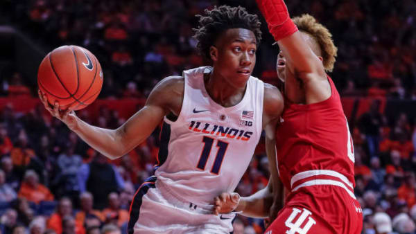 CHAMPAIGN, IL - MARCH 07: Ayo Dosunmu #11 of the Illinois Fighting Illini drives to the basket against Romeo Langford #0 of the Indiana Hoosiers at State Farm Center on March 7, 2019 in Champaign, Illinois. (Photo by Michael Hickey/Getty Images)