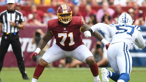 LANDOVER, MD - SEPTEMBER 16:  Trent Williams #71 of the Washington Redskins blocks against the Indianapolis Colts at FedExField on September 16, 2018 in Landover, Maryland.  (Photo by G Fiume/Getty Images)