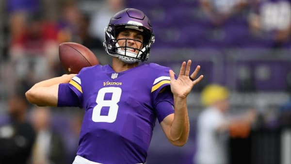 MINNEAPOLIS, MN - AUGUST 18: Kirk Cousins #8 of the Minnesota Vikings warms up before the preseason game against the Jacksonville Jaguars on August 18, 2018 at US Bank Stadium in Minneapolis, Minnesota. (Photo by Hannah Foslien/Getty Images)