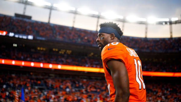 DENVER, CO - OCTOBER 17:  Wide receiver Emmanuel Sanders #10 of the Denver Broncos stands on the field before a game against the Kansas City Chiefs at Empower Field at Mile High on October 17, 2019 in Denver, Colorado. (Photo by Justin Edmonds/Getty Images)