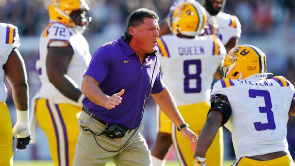 TUSCALOOSA, ALABAMA - NOVEMBER 09: Head coach Ed Orgeron of the LSU Tigers reacts after the Tigers recovered a fumble during the first half against the Alabama Crimson Tide in the game at Bryant-Denny Stadium on November 09, 2019 in Tuscaloosa, Alabama. (Photo by Kevin C. Cox/Getty Images)