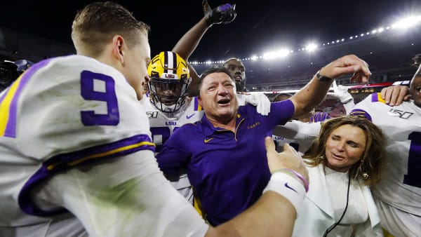 TUSCALOOSA, ALABAMA - NOVEMBER 09: Joe Burrow #9 of the LSU Tigers celebrates with head coach Ed Orgeron after defeating the Alabama Crimson Tide 46-41 at Bryant-Denny Stadium on November 09, 2019 in Tuscaloosa, Alabama. (Photo by Kevin C. Cox/Getty Images)
