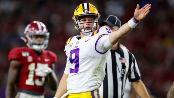"""TUSCALOOSA, AL - NOVEMBER 09: Joe Burrow #9 of the LSU Tigers motions """"first down"""" during the second half against the Alabama Crimson Tide at Bryant-Denny Stadium on November 9, 2019 in Tuscaloosa, Alabama. (Photo by Todd Kirkland/Getty Images)"""