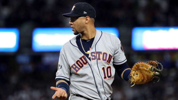 NEW YORK, NEW YORK - OCTOBER 15: Yuli Gurriel #10 of the Houston Astros reacts during the eighth inning against the New York Yankees in game three of the American League Championship Series at Yankee Stadium on October 15, 2019 in New York City. (Photo by Elsa/Getty Images)