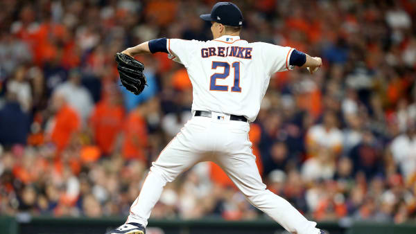 HOUSTON, TEXAS - OCTOBER 12:  Zack Greinke #21 of the Houston Astros delivers the first pitch against the New York Yankees during the first inning in game one of the American League Championship Series at Minute Maid Park on October 12, 2019 in Houston, Texas. (Photo by Bob Levey/Getty Images)