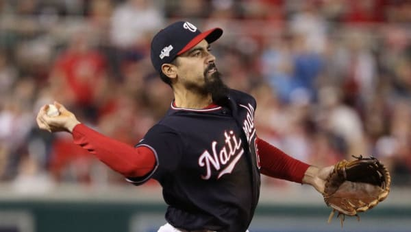 WASHINGTON, DC - OCTOBER 14: Anthony Rendon #6 of the Washington Nationals fields against the St. Louis Cardinals in game three of the National League Championship Series at Nationals Park on October 14, 2019 in Washington, DC. (Photo by Patrick Smith/Getty Images)