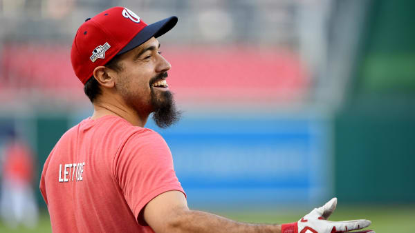 WASHINGTON, DC - OCTOBER 15: Anthony Rendon #6 of the Washington Nationals looks on prior to playing against the St. Louis Cardinals in Game Four of the National League Championship Series at Nationals Park on October 15, 2019 in Washington, DC. (Photo by Will Newton/Getty Images)