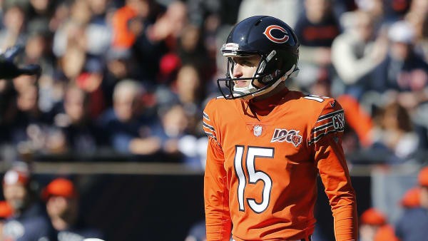 CHICAGO, ILLINOIS - OCTOBER 27: Eddy Pineiro #15 of the Chicago Bears reacts after missing a field goal during the first half against the Los Angeles Chargers at Soldier Field on October 27, 2019 in Chicago, Illinois. (Photo by Nuccio DiNuzzo/Getty Images)