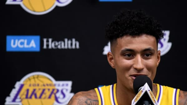 EL SEGUNDO, CALIFORNIA - SEPTEMBER 27:  Kyle Kuzma #0 of the Los Angeles Lakers speaks to the press during Los Angeles Lakers media day at UCLA Health Training Center on September 27, 2019 in El Segundo, California. (Photo by Harry How/Getty Images)