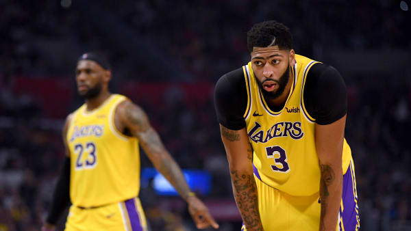 LOS ANGELES, CALIFORNIA - OCTOBER 22:  Anthony Davis #3 of the Los Angeles Lakers and LeBron James #23 during a 112-102  LA Clipper win in the Clippers season home opener at Staples Center on October 22, 2019 in Los Angeles, California. (Photo by Harry How/Getty Images)
