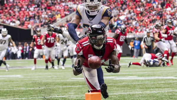 ATLANTA, GA - OCTOBER 20: Julio Jones #11 of the Atlanta Falcons is unable to make a reception in front of Jalen Ramsey #20 of the Los Angeles Rams during the first half of a game at Mercedes-Benz Stadium on October 20, 2019 in Atlanta, Georgia. (Photo by Carmen Mandato/Getty Images)