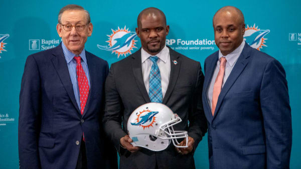 DAVIE, FL - FEBRUARY 04: Stephen Ross Chairman & Owner, Brian Flores Head Coach, Chris Grier General Manager of the Miami Dolphins pose for the media after announcing Brian Flores as their new Head Coach at Baptist Health Training Facility at Nova Southern University on February 4, 2019 in Davie, Florida. (Photo by Mark Brown/Getty Images)