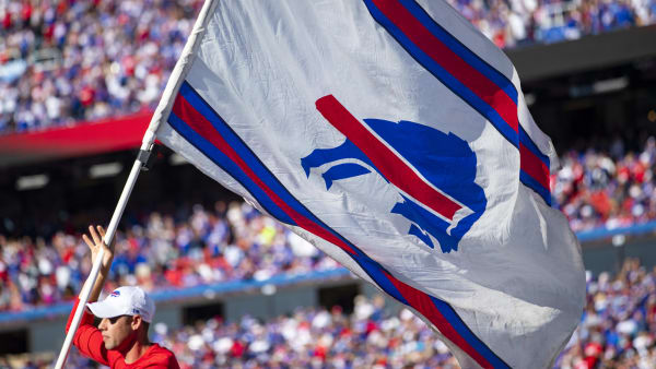 ORCHARD PARK, NY - OCTOBER 20:  Detail view of a Buffalo Bills flag during the game between the Buffalo Bills and the Miami Dolphins at New Era Field on October 20, 2019 in Orchard Park, New York. Buffalo defeats Miami 31-21.  (Photo by Brett Carlsen/Getty Images)