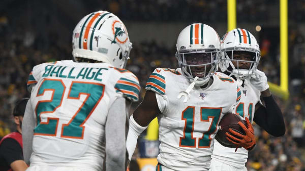 PITTSBURGH, PA - OCTOBER 28: Allen Hurns #17 of the Miami Dolphins celebrates with Kalen Ballage #27 after a 12-yard touchdown reception in the first quarter during the game against the Pittsburgh Steelers at Heinz Field on October 28, 2019 in Pittsburgh, Pennsylvania. (Photo by Justin Berl/Getty Images)