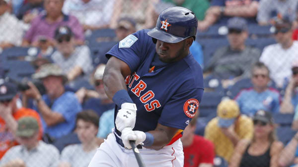 WEST PALM BEACH, FL - MARCH 14: Yordan Alvarez #72 of the Houston Astros hits the ball against the Miami Marlins during a spring training game at The Fitteam Ballpark of the Palm Beaches on March 14, 2019 in West Palm Beach, Florida. (Photo by Joel Auerbach/Getty Images)