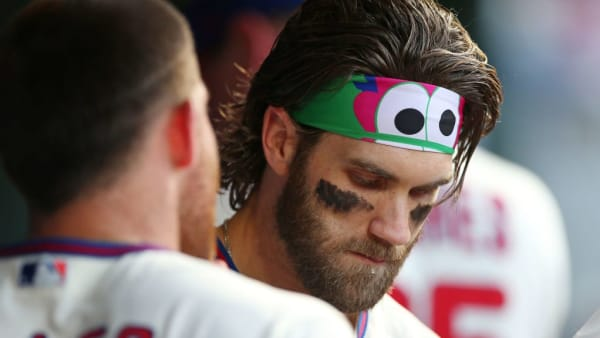 PHILADELPHIA, PA - SEPTEMBER 29: Bryce Harper #3 of the Philadelphia Phillies in action against the Miami Marlins during a game at Citizens Bank Park on September 29, 2019 in Philadelphia, Pennsylvania. (Photo by Rich Schultz/Getty Images)