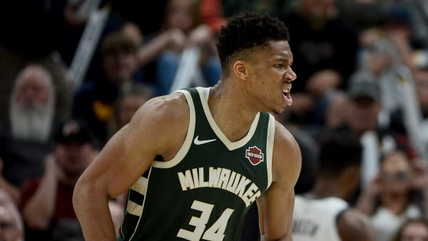 SALT LAKE CITY, UT - NOVEMBER 08: Giannis Antetokounmpo #34 of the Milwaukee Bucks reacts to a play during a game against the Utah Jazz at Vivint Smart Home Arena on November 8, 2019 in Salt Lake City, Utah. NOTE TO USER: User expressly acknowledges and agrees that, by downloading and/or using this photograph, user is consenting to the terms and conditions of the Getty Images License Agreement.  (Photo by Alex Goodlett/Getty Images)
