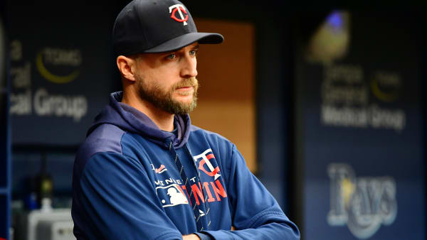 ST. PETERSBURG, FLORIDA - JUNE 02: Rocco Baldelli #5 of the Minnesota Twins looks on to gameplay during the second inning against the Tampa Bay Rays at Tropicana Field on June 02, 2019 in St. Petersburg, Florida. (Photo by Julio Aguilar/Getty Images)