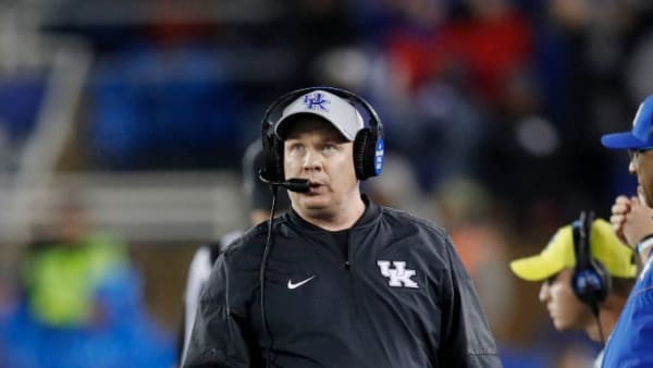 LEXINGTON, KY - OCTOBER 26: Head coach Mark Stoops of the Kentucky Wildcats looks on against the Missouri Tigers during a game at Kroger Field on October 26, 2019 in Lexington, Kentucky. Kentucky defeated Missouri 29-7. (Photo by Joe Robbins/Getty Images)