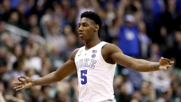 WASHINGTON, DC - MARCH 31:  RJ Barrett #5 of the Duke Blue Devils celebrates a basket against the Michigan State Spartans during the first half in the East Regional game of the 2019 NCAA Men's Basketball Tournament at Capital One Arena on March 31, 2019 in Washington, DC. (Photo by Patrick Smith/Getty Images)