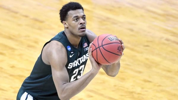 WASHINGTON, DC - MARCH 31:  Xavier Tillman #23 of the Michigan State Spartans takes a foul shot during the East Regional game of the 2019 NCAA Men's Basketball Tournament against the Duke Blue Devils at Capital One Arena on March 29, 2019 in Washington, DC.  (Photo by Mitchell Layton/Getty Images)