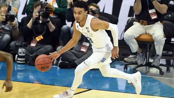 WASHINGTON, DC - MARCH 31:  Tre Jones #3 of the Duke Blue Devils dribbles up court during the East Regional game of the 2019 NCAA Men's Basketball Tournament against the Michigan State Spartans at Capital One Arena on March 29, 2019 in Washington, DC.  (Photo by Mitchell Layton/Getty Images)